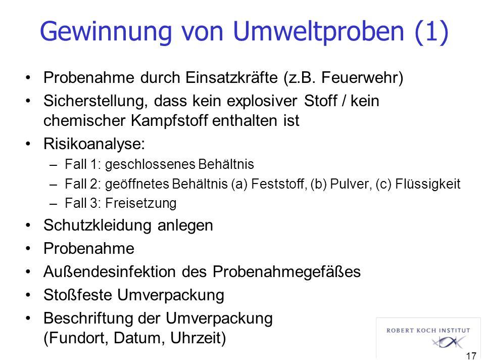 Gewinnung von Umweltproben (1) Probenahme durch Einsatzkräfte (z.B. Feuerwehr) Sicherstellung, dass kein explosiver Stoff / kein chemischer Kampfstoff