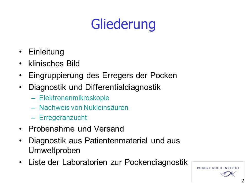 Gliederung Einleitung klinisches Bild Eingruppierung des Erregers der Pocken Diagnostik und Differentialdiagnostik –Elektronenmikroskopie –Nachweis vo