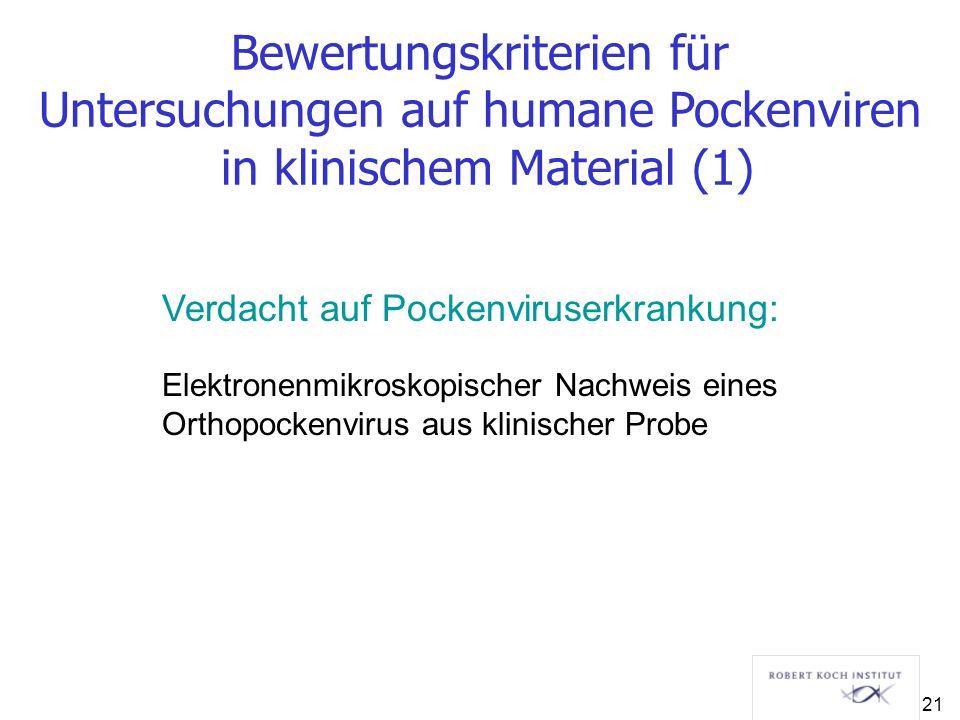 Verdacht auf Pockenviruserkrankung: Elektronenmikroskopischer Nachweis eines Orthopockenvirus aus klinischer Probe Bewertungskriterien für Untersuchun