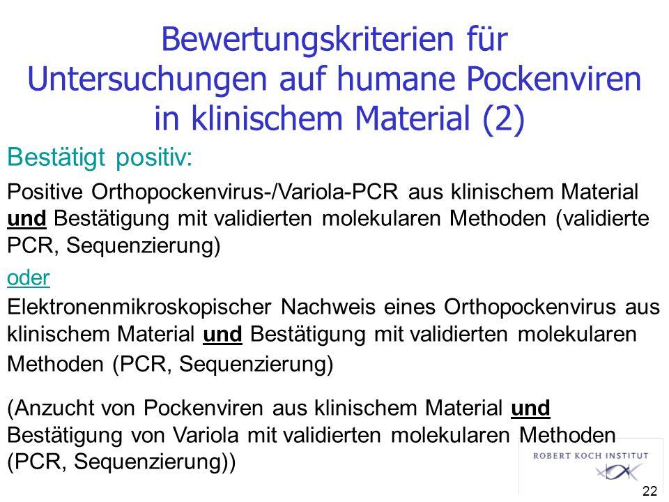Bewertungskriterien für Untersuchungen auf humane Pockenviren in klinischem Material (2) Bestätigt positiv: Positive Orthopockenvirus-/Variola-PCR aus