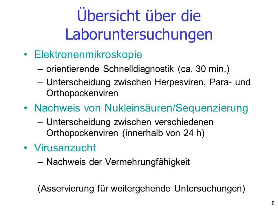 Übersicht über die Laboruntersuchungen Elektronenmikroskopie –orientierende Schnelldiagnostik (ca. 30 min.) –Unterscheidung zwischen Herpesviren, Para