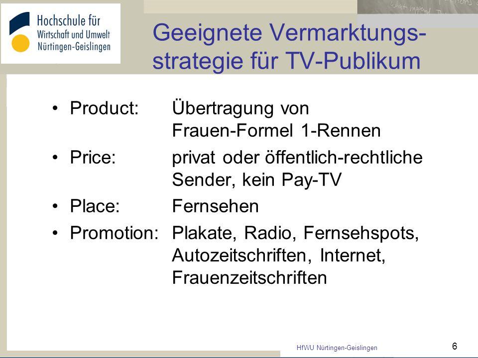 HfWU Nürtingen-Geislingen 6 Geeignete Vermarktungs- strategie für TV-Publikum Product:Übertragung von Frauen-Formel 1-Rennen Price: privat oder öffent