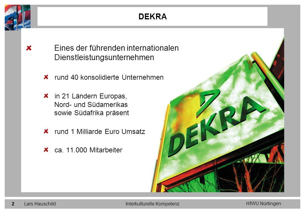 HfWU Nürtingen Lars HauschildInterkulturelle Kompetenz33 Normstrategien für die internationalen Aktivitäten von DEKRA im Fahrzeugprüfwesen Markteintritt und –ausbau über Akquisitionen und lokale Franchise-Konzepte Markteintritt über Master Franchise Vertragspartner mit geringer Beteiligung von DEKRA am Betreiberkonsortium; ggf.