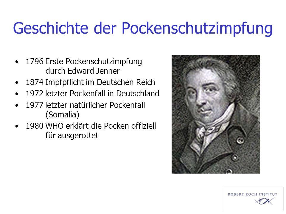 Geschichte der Pockenschutzimpfung 1796 Erste Pockenschutzimpfung durch Edward Jenner 1874 Impfpflicht im Deutschen Reich 1972 letzter Pockenfall in D