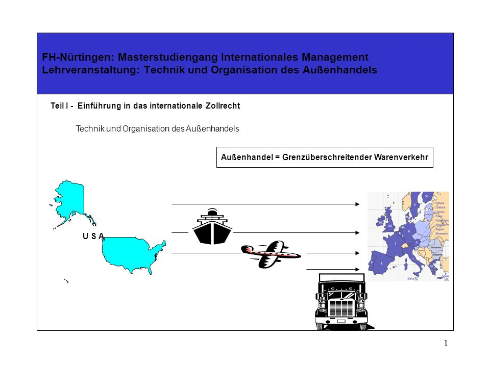 1 FH-Nürtingen: Masterstudiengang Internationales Management Lehrveranstaltung: Technik und Organisation des Außenhandels Teil I - Einführung in das internationale Zollrecht Technik und Organisation des Außenhandels Außenhandel = Grenzüberschreitender Warenverkehr U S A