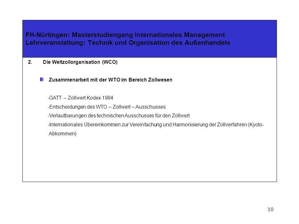 9 FH-Nürtingen: Masterstudiengang Internationales Management Lehrveranstaltung: Technik und Organisation des Außenhandels 2.Die Weltzollorganisation (