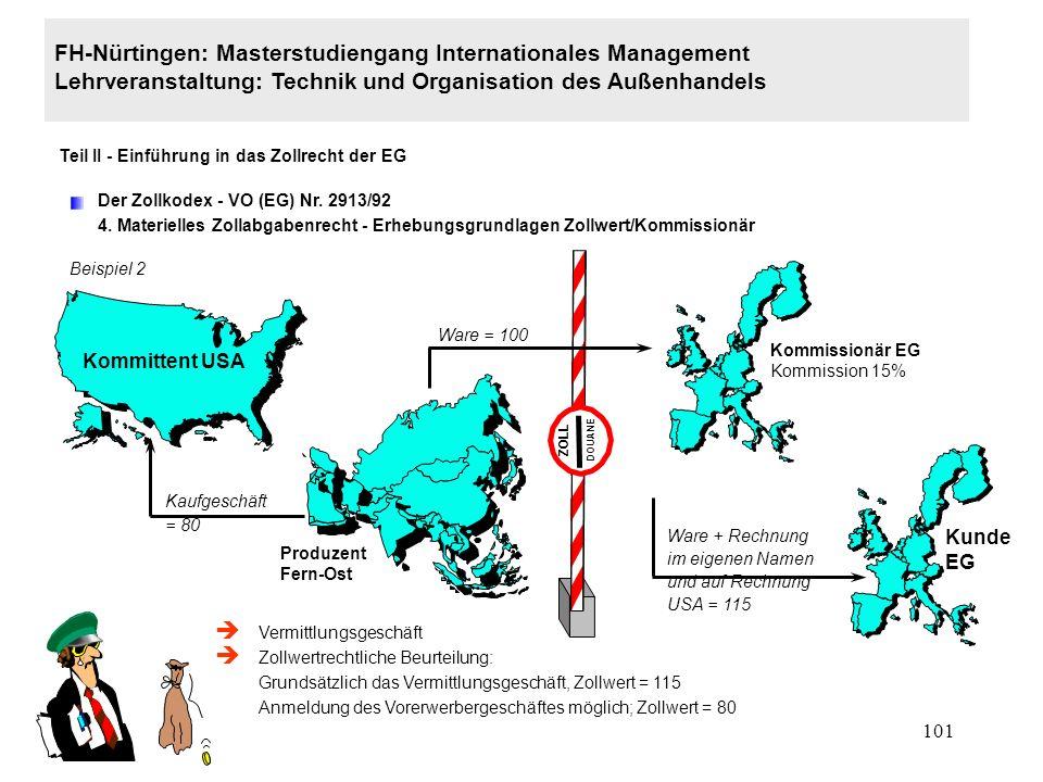 100 FH-Nürtingen: Masterstudiengang Internationales Management Lehrveranstaltung: Technik und Organisation des Außenhandels Teil II - Einführung in das Zollrecht der EG Der Zollkodex - VO (EG) Nr.