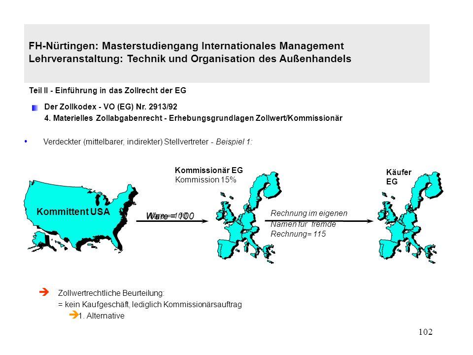 101 FH-Nürtingen: Masterstudiengang Internationales Management Lehrveranstaltung: Technik und Organisation des Außenhandels Teil II - Einführung in das Zollrecht der EG Der Zollkodex - VO (EG) Nr.