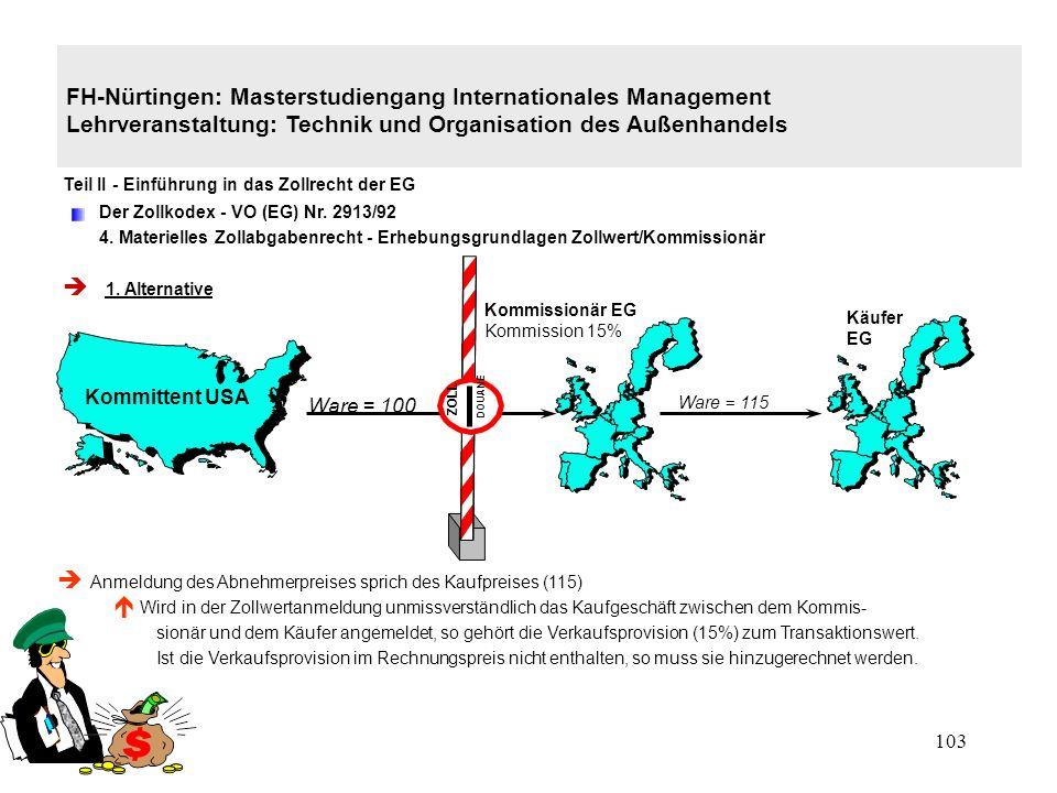 102 FH-Nürtingen: Masterstudiengang Internationales Management Lehrveranstaltung: Technik und Organisation des Außenhandels Teil II - Einführung in das Zollrecht der EG Der Zollkodex - VO (EG) Nr.