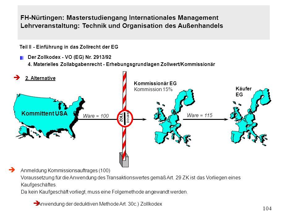 103 FH-Nürtingen: Masterstudiengang Internationales Management Lehrveranstaltung: Technik und Organisation des Außenhandels Teil II - Einführung in das Zollrecht der EG Der Zollkodex - VO (EG) Nr.