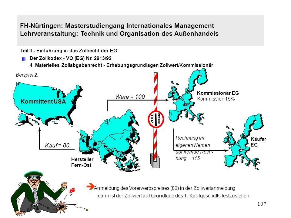 106 FH-Nürtingen: Masterstudiengang Internationales Management Lehrveranstaltung: Technik und Organisation des Außenhandels Teil II - Einführung in das Zollrecht der EG Der Zollkodex - VO (EG) Nr.