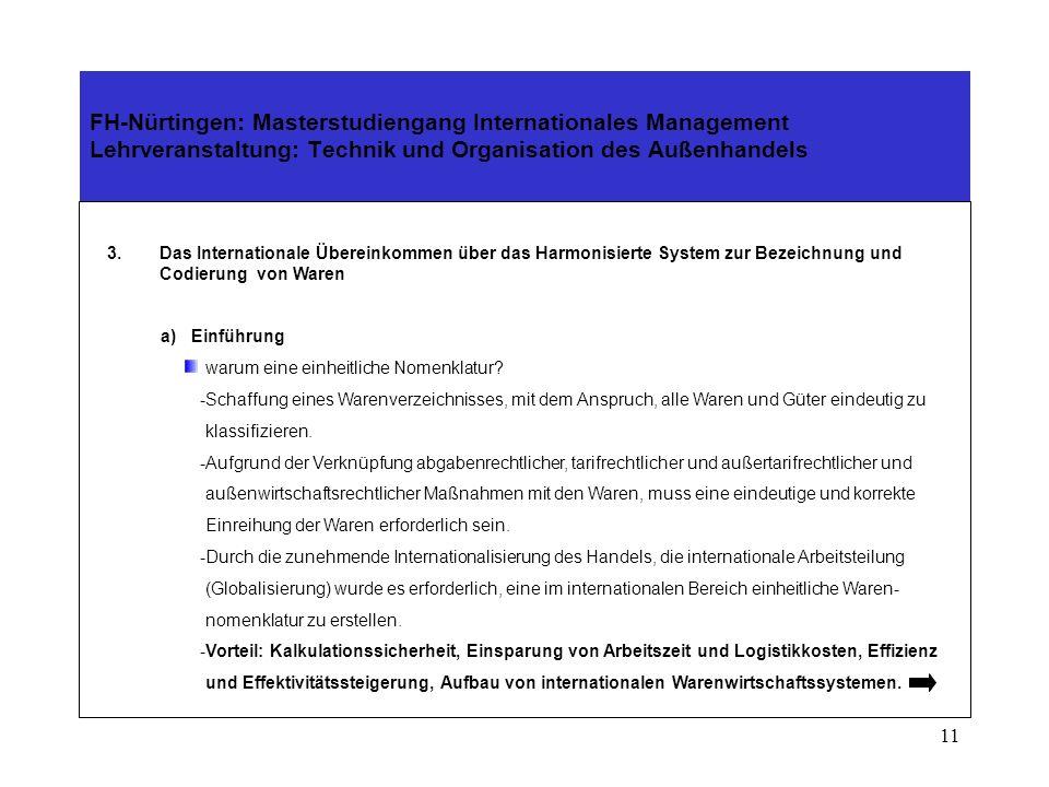 10 FH-Nürtingen: Masterstudiengang Internationales Management Lehrveranstaltung: Technik und Organisation des Außenhandels 2.Die Weltzollorganisation (WCO) Zusammenarbeit mit der WTO im Bereich Zollwesen -GATT – Zollwert Kodex 1994 -Entscheidungen des WTO – Zollwert – Ausschusses -Verlautbarungen des technischen Ausschusses für den Zollwert -Internationales Übereinkommen zur Vereinfachung und Harmonisierung der Zollverfahren (Kyoto- Abkommen)