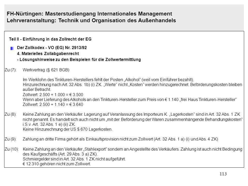 112 FH-Nürtingen: Masterstudiengang Internationales Management Lehrveranstaltung: Technik und Organisation des Außenhandels Teil II - Einführung in da