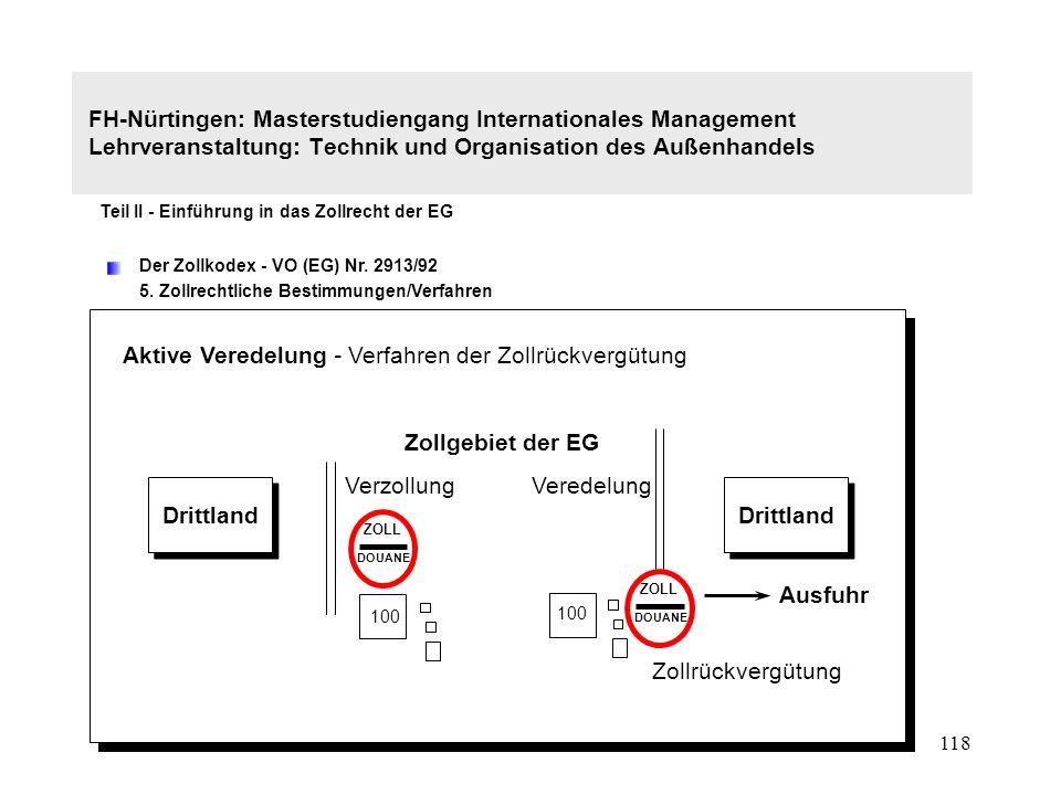 117 FH-Nürtingen: Masterstudiengang Internationales Management Lehrveranstaltung: Technik und Organisation des Außenhandels Teil II - Einführung in das Zollrecht der EG Der Zollkodex - VO (EG) Nr.
