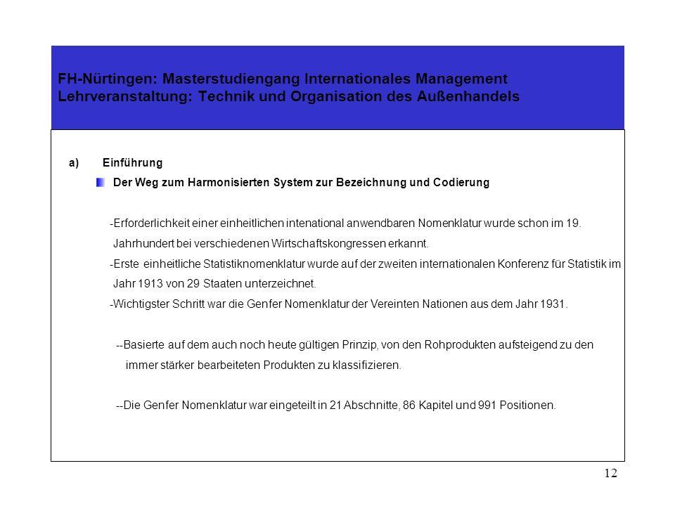 11 FH-Nürtingen: Masterstudiengang Internationales Management Lehrveranstaltung: Technik und Organisation des Außenhandels 3.Das Internationale Überei