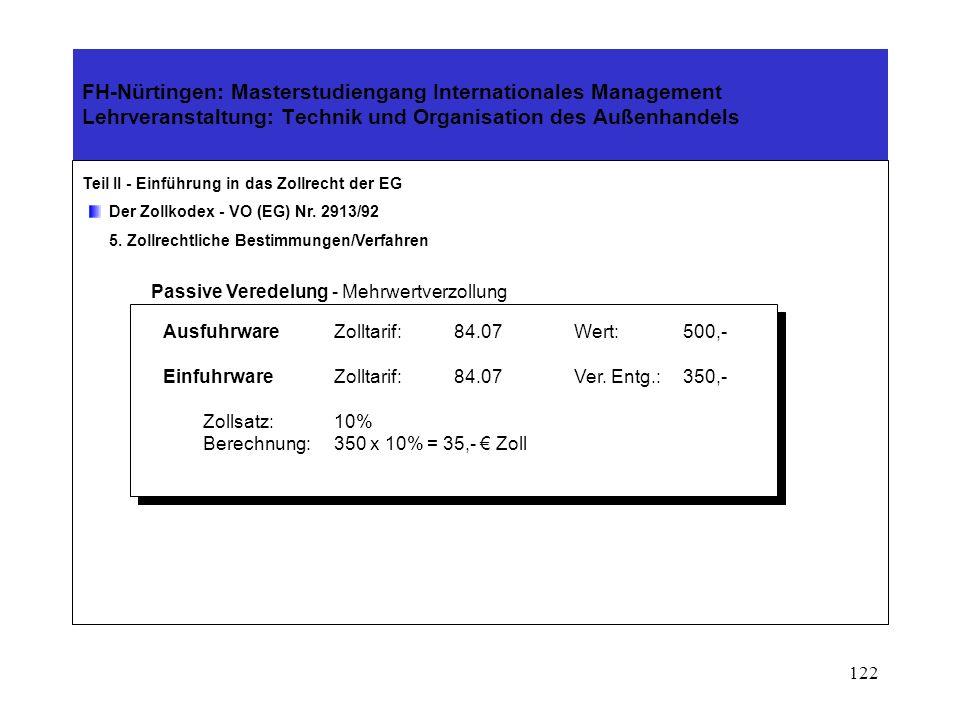 121 FH-Nürtingen: Masterstudiengang Internationales Management Lehrveranstaltung: Technik und Organisation des Außenhandels Teil II - Einführung in das Zollrecht der EG Der Zollkodex - VO (EG) Nr.