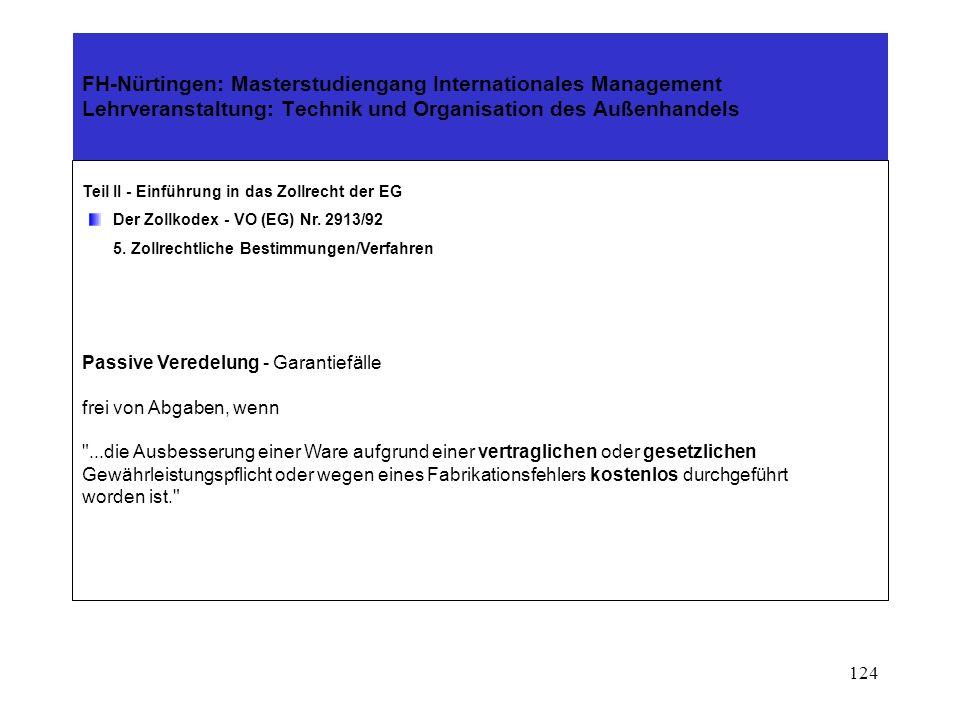 123 FH-Nürtingen: Masterstudiengang Internationales Management Lehrveranstaltung: Technik und Organisation des Außenhandels Teil II - Einführung in das Zollrecht der EG Der Zollkodex - VO (EG) Nr.