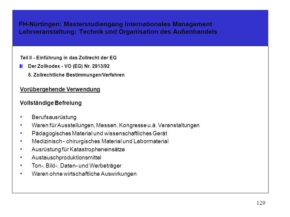 128 FH-Nürtingen: Masterstudiengang Internationales Management Lehrveranstaltung: Technik und Organisation des Außenhandels Teil II - Einführung in da
