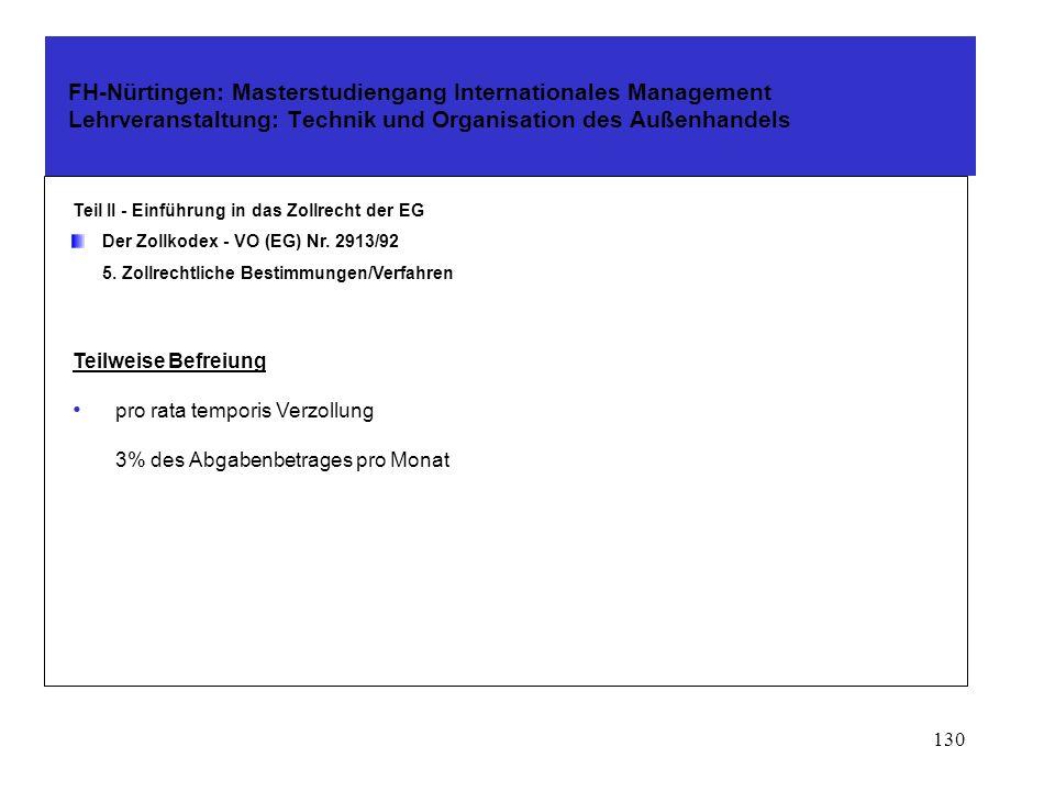 129 FH-Nürtingen: Masterstudiengang Internationales Management Lehrveranstaltung: Technik und Organisation des Außenhandels Teil II - Einführung in das Zollrecht der EG Der Zollkodex - VO (EG) Nr.