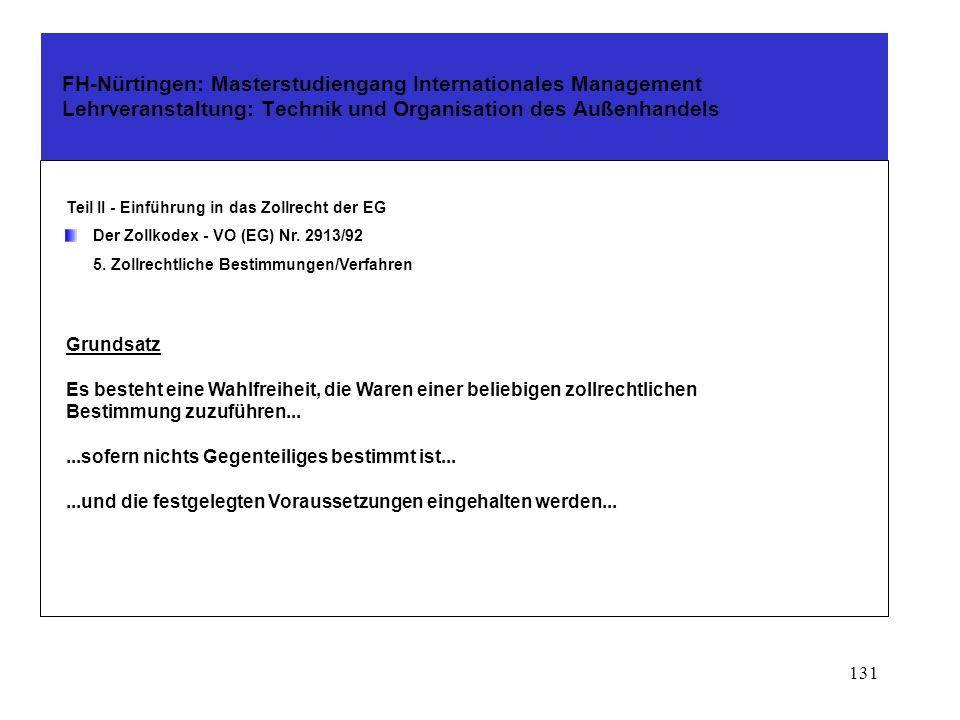 130 FH-Nürtingen: Masterstudiengang Internationales Management Lehrveranstaltung: Technik und Organisation des Außenhandels Teil II - Einführung in das Zollrecht der EG Der Zollkodex - VO (EG) Nr.