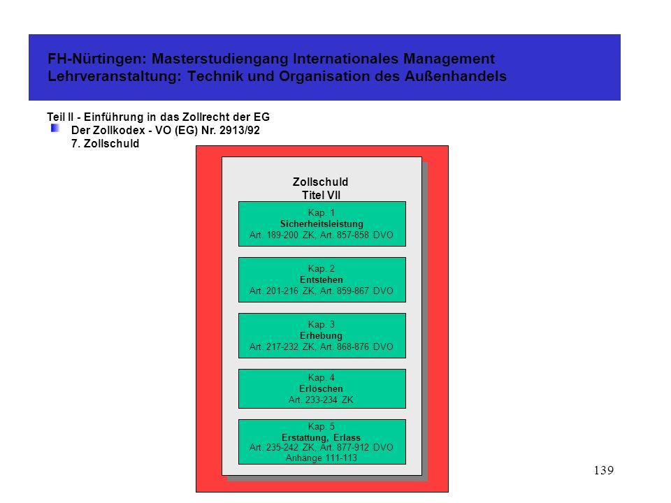 138 FH-Nürtingen: Masterstudiengang Internationales Management Lehrveranstaltung: Technik und Organisation des Außenhandels Teil II - Einführung in das Zollrecht der EG Der Zollkodex - VO (EG) Nr.