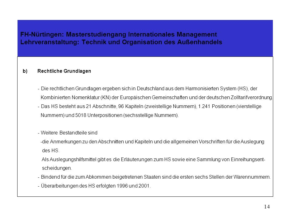 13 FH-Nürtingen: Masterstudiengang Internationales Management Lehrveranstaltung: Technik und Organisation des Außenhandels a)Einführung Der Weg zum Ha