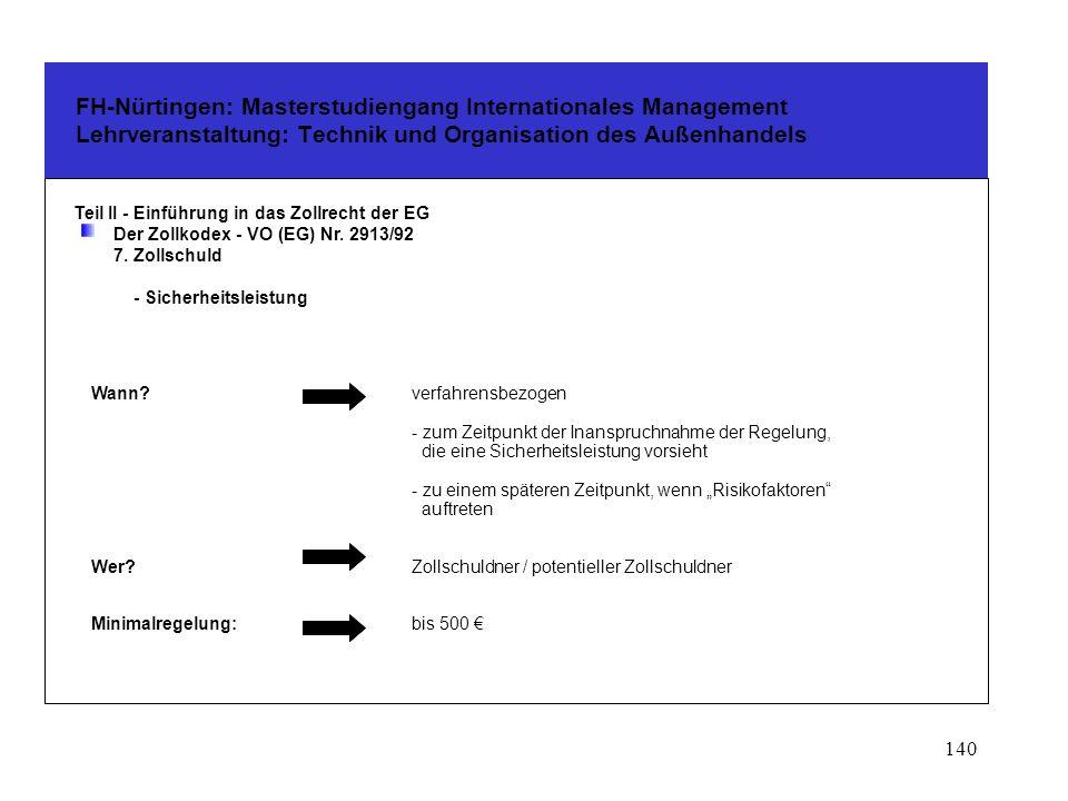 139 FH-Nürtingen: Masterstudiengang Internationales Management Lehrveranstaltung: Technik und Organisation des Außenhandels Teil II - Einführung in das Zollrecht der EG Der Zollkodex - VO (EG) Nr.