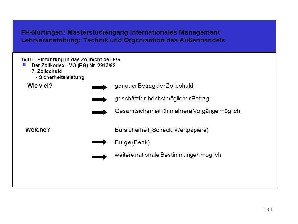 140 FH-Nürtingen: Masterstudiengang Internationales Management Lehrveranstaltung: Technik und Organisation des Außenhandels Teil II - Einführung in das Zollrecht der EG Der Zollkodex - VO (EG) Nr.