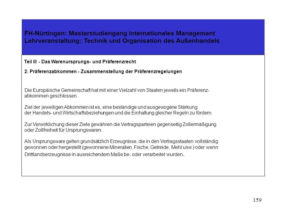 158 FH-Nürtingen: Masterstudiengang Internationales Management Lehrveranstaltung: Technik und Organisation des Außenhandels Teil III - Das Warenurspru