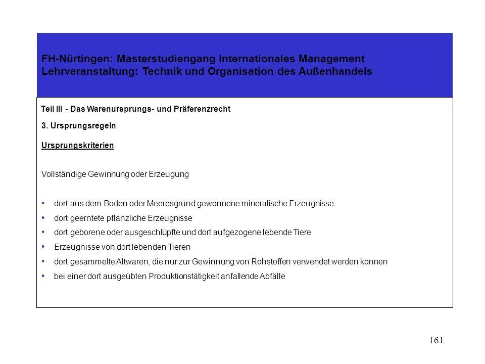 160 FH-Nürtingen: Masterstudiengang Internationales Management Lehrveranstaltung: Technik und Organisation des Außenhandels Teil III - Das Warenurspru