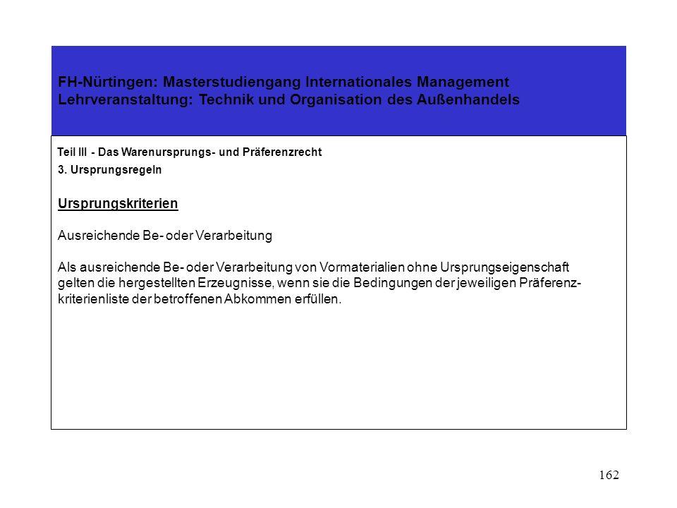 161 FH-Nürtingen: Masterstudiengang Internationales Management Lehrveranstaltung: Technik und Organisation des Außenhandels Teil III - Das Warenursprungs- und Präferenzrecht 3.