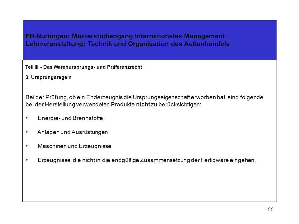 165 FH-Nürtingen: Masterstudiengang Internationales Management Lehrveranstaltung: Technik und Organisation des Außenhandels Teil III - Das Warenurspru