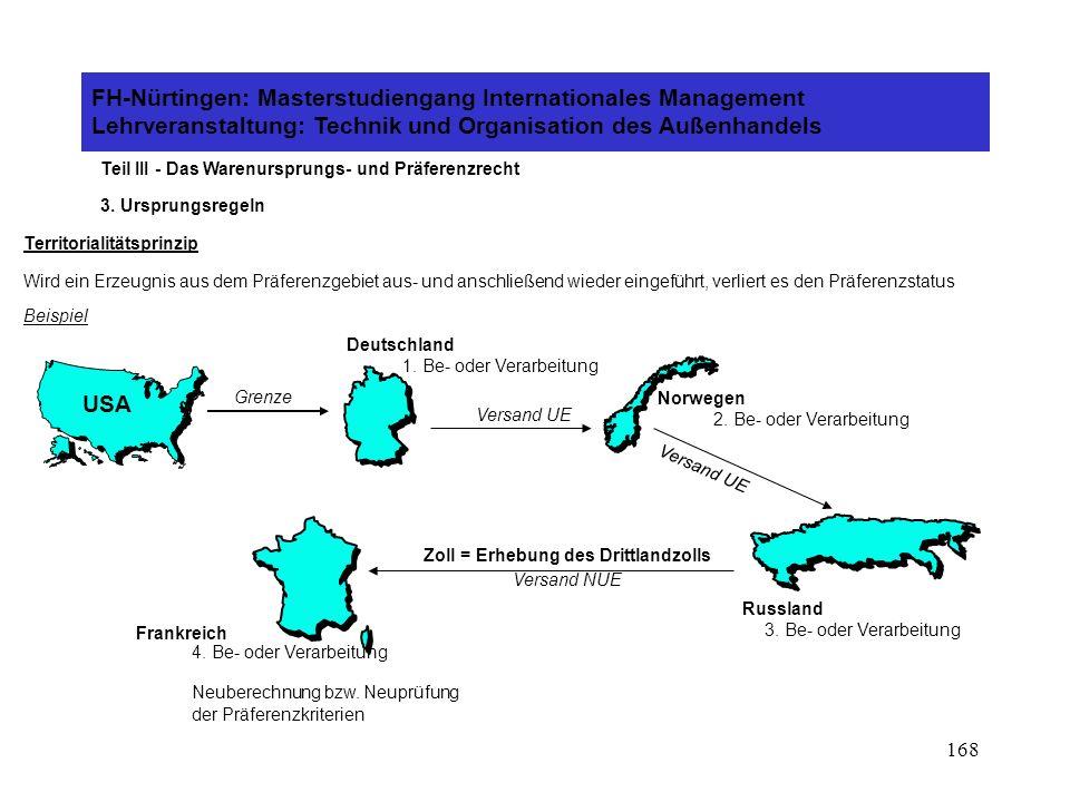 167 FH-Nürtingen: Masterstudiengang Internationales Management Lehrveranstaltung: Technik und Organisation des Außenhandels Teil III - Das Warenursprungs- und Präferenzrecht 3.