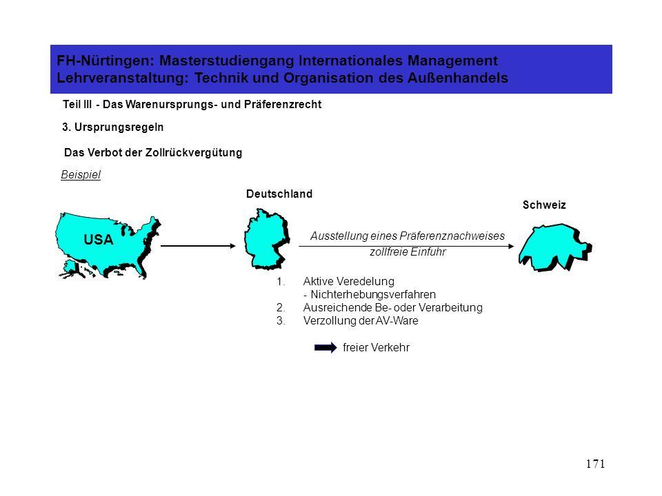 170 FH-Nürtingen: Masterstudiengang Internationales Management Lehrveranstaltung: Technik und Organisation des Außenhandels Teil III - Das Warenursprungs- und Präferenzrecht 3.