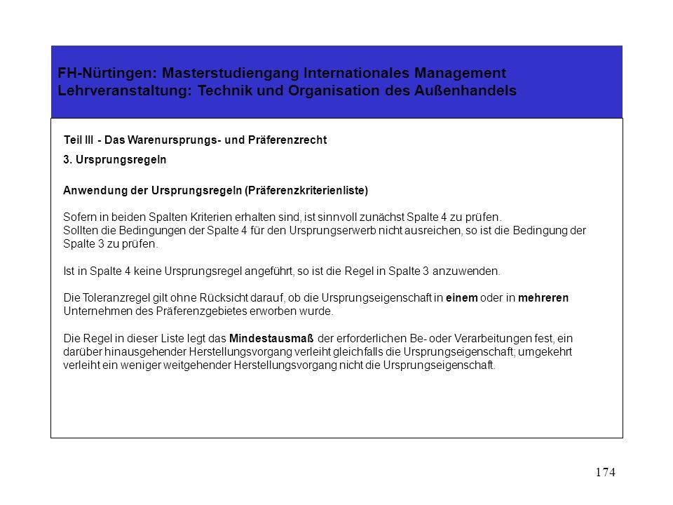 173 FH-Nürtingen: Masterstudiengang Internationales Management Lehrveranstaltung: Technik und Organisation des Außenhandels Teil III - Das Warenursprungs- und Präferenzrecht 3.