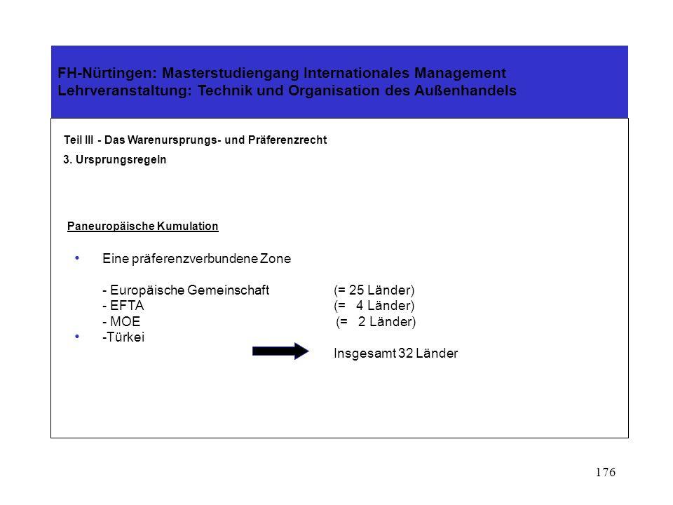 175 FH-Nürtingen: Masterstudiengang Internationales Management Lehrveranstaltung: Technik und Organisation des Außenhandels Teil III - Das Warenursprungs- und Präferenzrecht 3.