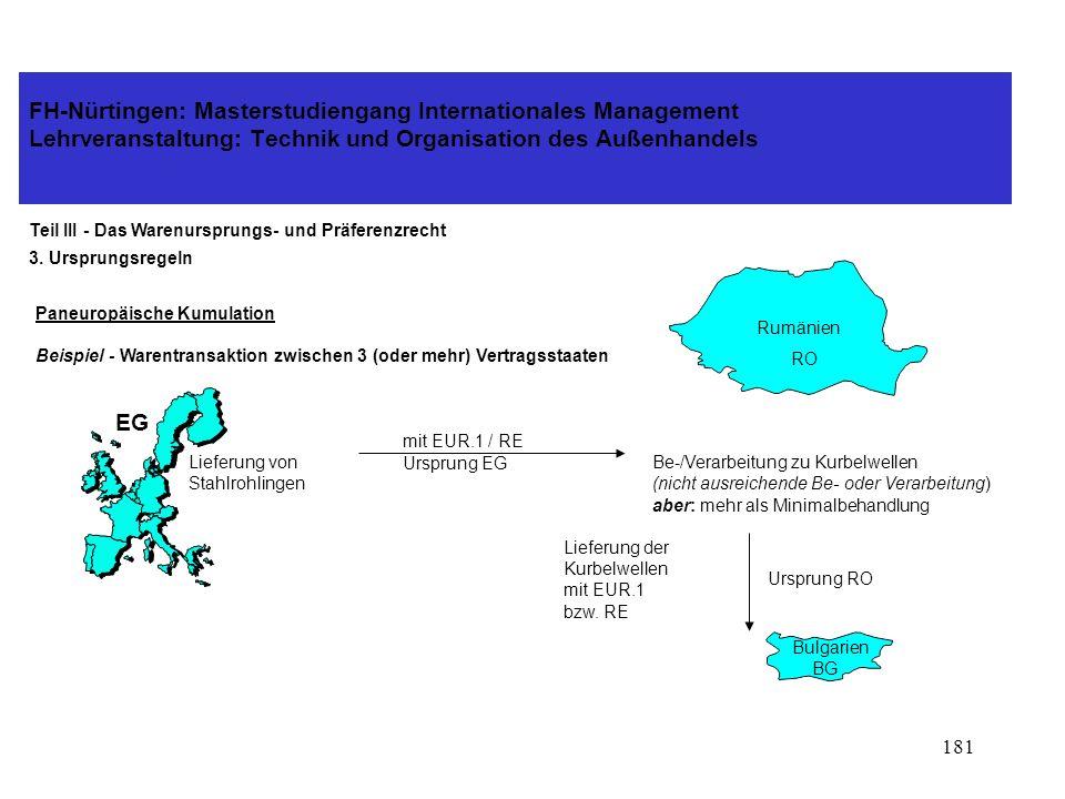 180 FH-Nürtingen: Masterstudiengang Internationales Management Lehrveranstaltung: Technik und Organisation des Außenhandels Teil III - Das Warenursprungs- und Präferenzrecht 3.