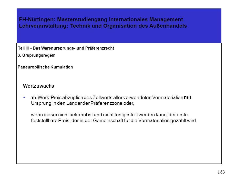 182 Teil III - Das Warenursprungs- und Präferenzrecht 3. Ursprungsregeln Paneuropäische Kumulation Anwendung der Kumulierungsregel In EG erzielter Wer