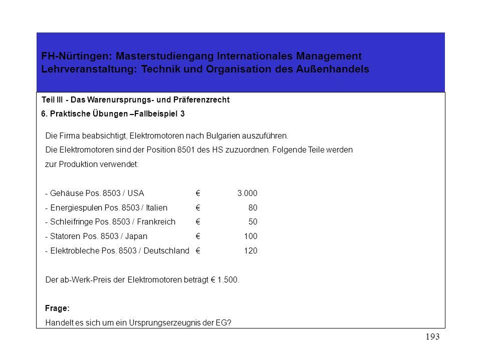 192 FH-Nürtingen: Masterstudiengang Internationales Management Lehrveranstaltung: Technik und Organisation des Außenhandels Teil III - Das Warenurspru