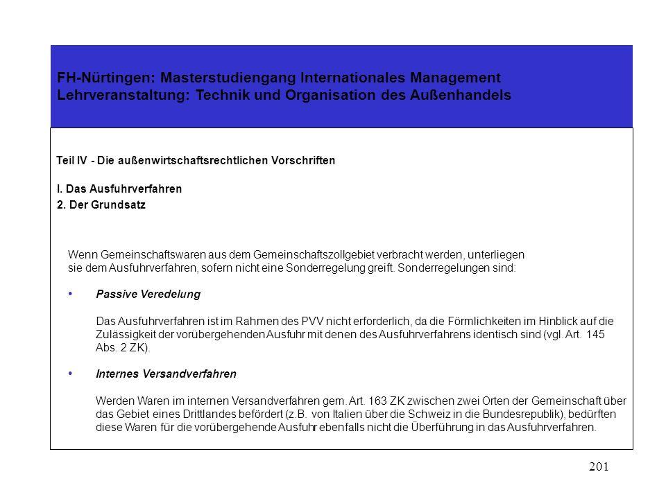200 FH-Nürtingen: Masterstudiengang Internationales Management Lehrveranstaltung: Technik und Organisation des Außenhandels Teil IV - Die außenwirtschaftsrechtlichen Vorschriften I.