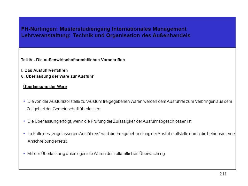 210 FH-Nürtingen: Masterstudiengang Internationales Management Lehrveranstaltung: Technik und Organisation des Außenhandels Teil IV - Die außenwirtschaftsrechtlichen Vorschriften I.