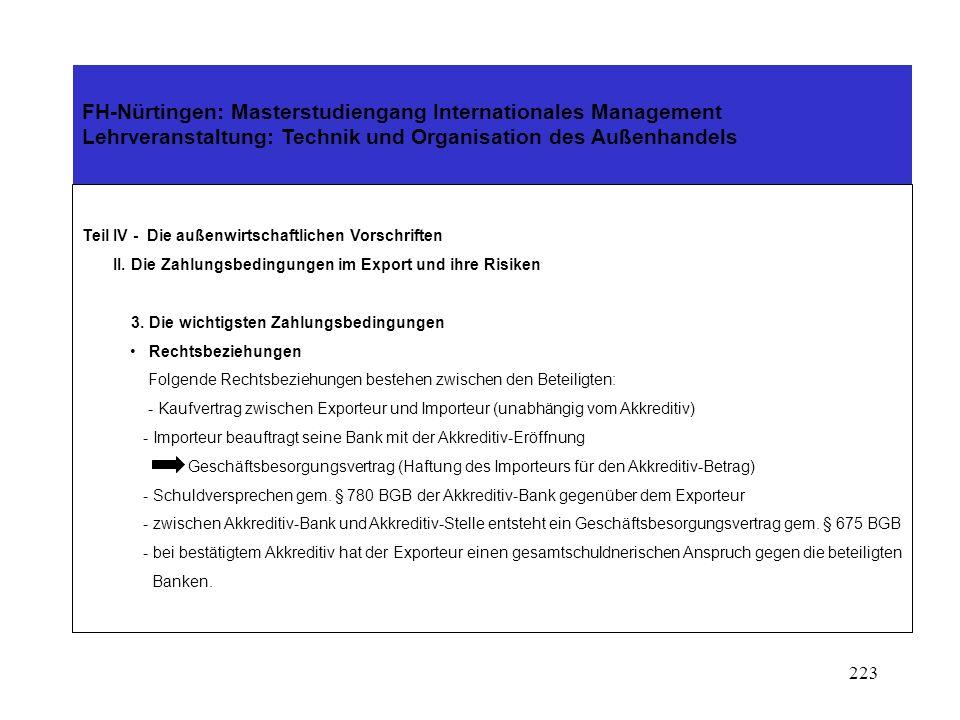 222 FH-Nürtingen: Masterstudiengang Internationales Management Lehrveranstaltung: Technik und Organisation des Außenhandels Teil IV - Die außenwirtschaftlichen Vorschriften II.