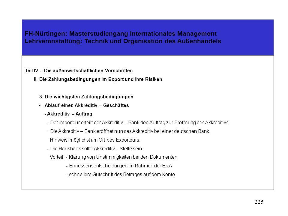 224 FH-Nürtingen: Masterstudiengang Internationales Management Lehrveranstaltung: Technik und Organisation des Außenhandels Teil IV - Die außenwirtschaftlichen Vorschriften II.