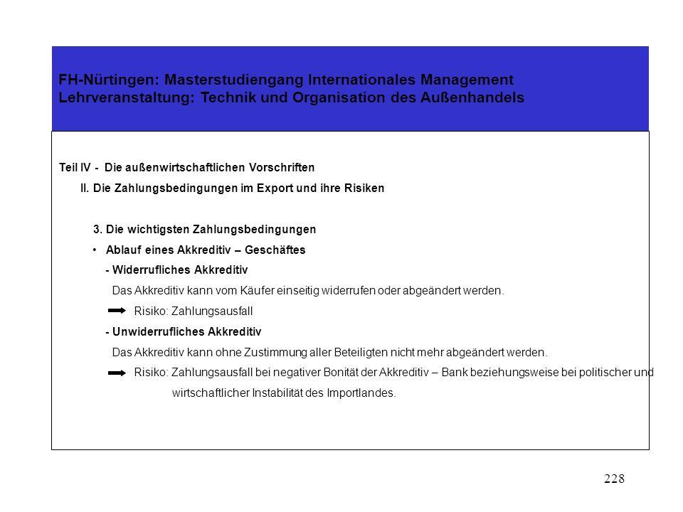 227 FH-Nürtingen: Masterstudiengang Internationales Management Lehrveranstaltung: Technik und Organisation des Außenhandels Teil IV - Die außenwirtsch
