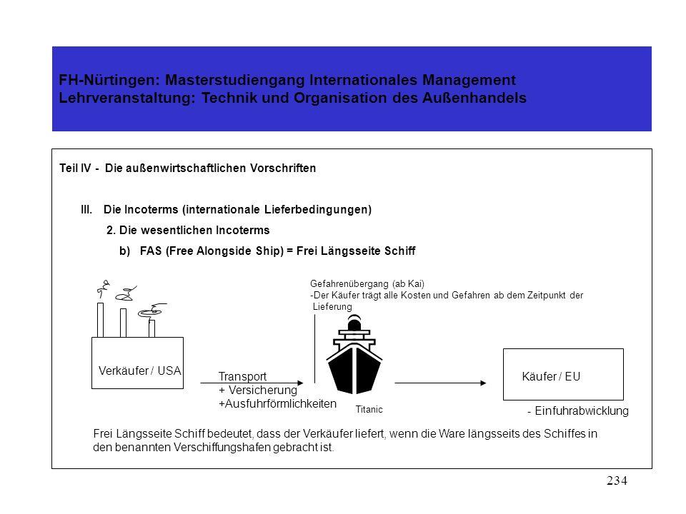 233 FH-Nürtingen: Masterstudiengang Internationales Management Lehrveranstaltung: Technik und Organisation des Außenhandels Teil IV - Die außenwirtschaftlichen Vorschriften III.