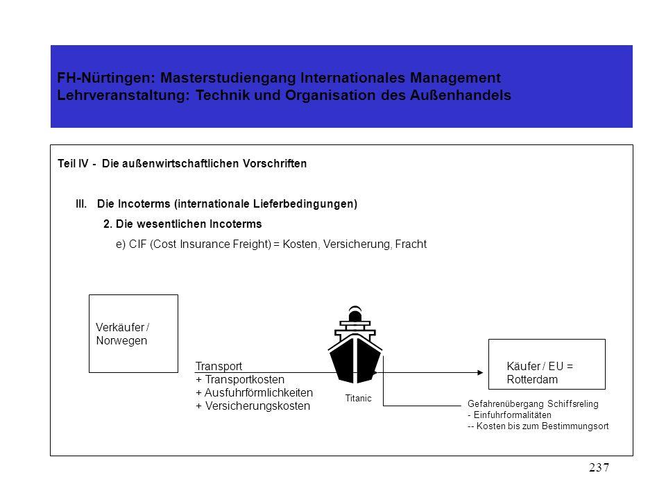 236 FH-Nürtingen: Masterstudiengang Internationales Management Lehrveranstaltung: Technik und Organisation des Außenhandels Teil IV - Die außenwirtsch