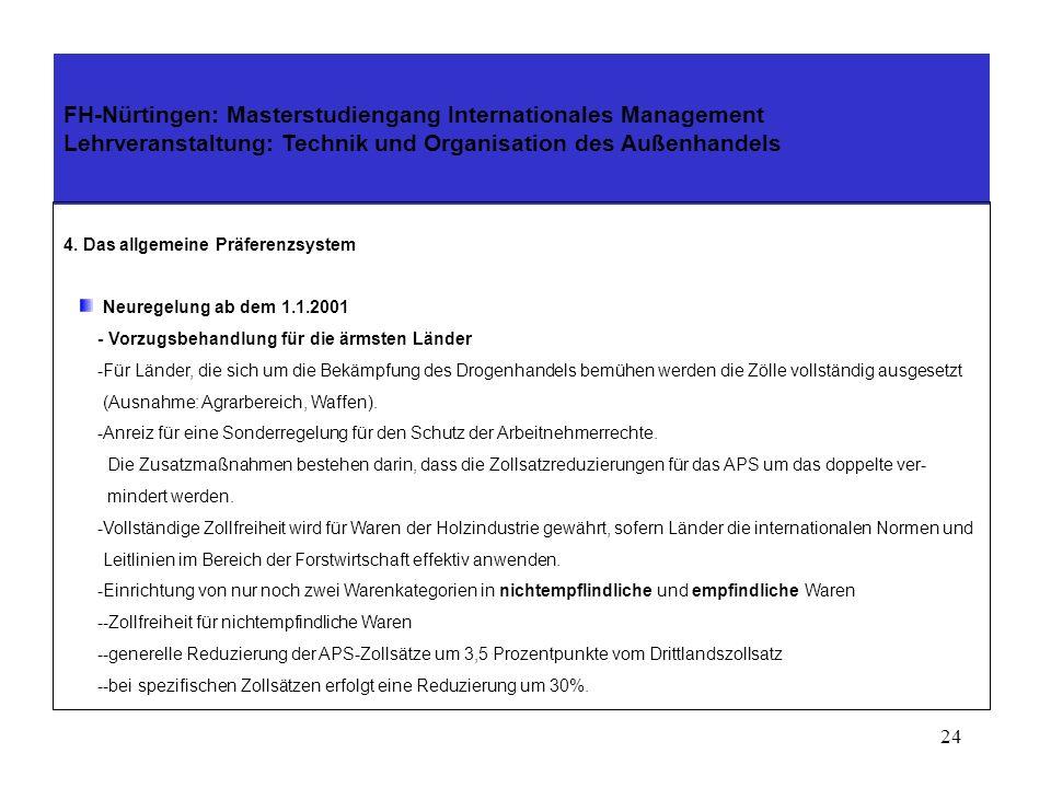 23 4. Das allgemeine Präferenzsystem Neuregelung ab dem 1.1.2001 -Die EG-Kommission überprüft jährlich den Entwicklungsstand der Länder. Sofern ein La