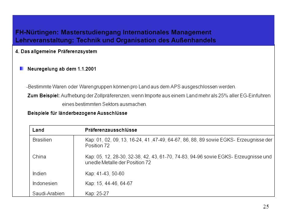 24 4. Das allgemeine Präferenzsystem Neuregelung ab dem 1.1.2001 - Vorzugsbehandlung für die ärmsten Länder -Für Länder, die sich um die Bekämpfung de