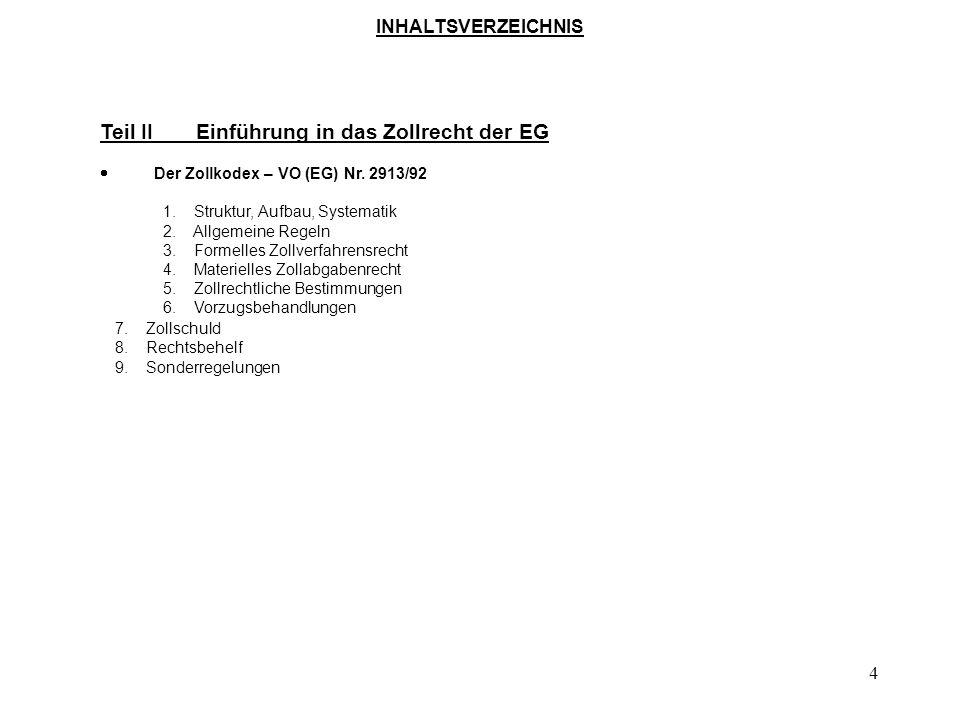 94 FH-Nürtingen: Masterstudiengang Internationales Management Lehrveranstaltung: Technik und Organisation des Außenhandels Teil II - Einführung in das Zollrecht der EG Der Zollkodex - VO (EG) Nr.