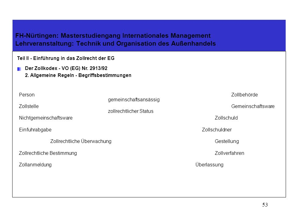 52 FH-Nürtingen: Masterstudiengang Internationales Management Lehrveranstaltung: Technik und Organisation des Außenhandels Teil II - Einführung in das